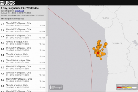 FOTO: El impactante mapa de réplicas tras el terremoto de ayer en el Norte Grande