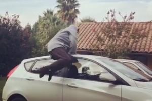 ¡Augusto Schuster esquivó un auto con tan sólo un salto!