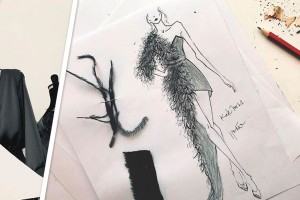 Chilena le regaló un vestido de terciopelo y plumas a Kate Moss